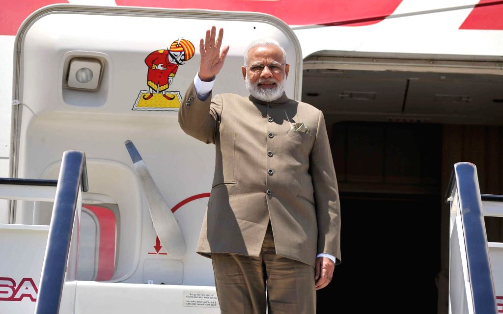 Prime Minister Narendra Modi departs from Spain for St. Petersburg, Russia on May 31, 2017. - Narendra Modi