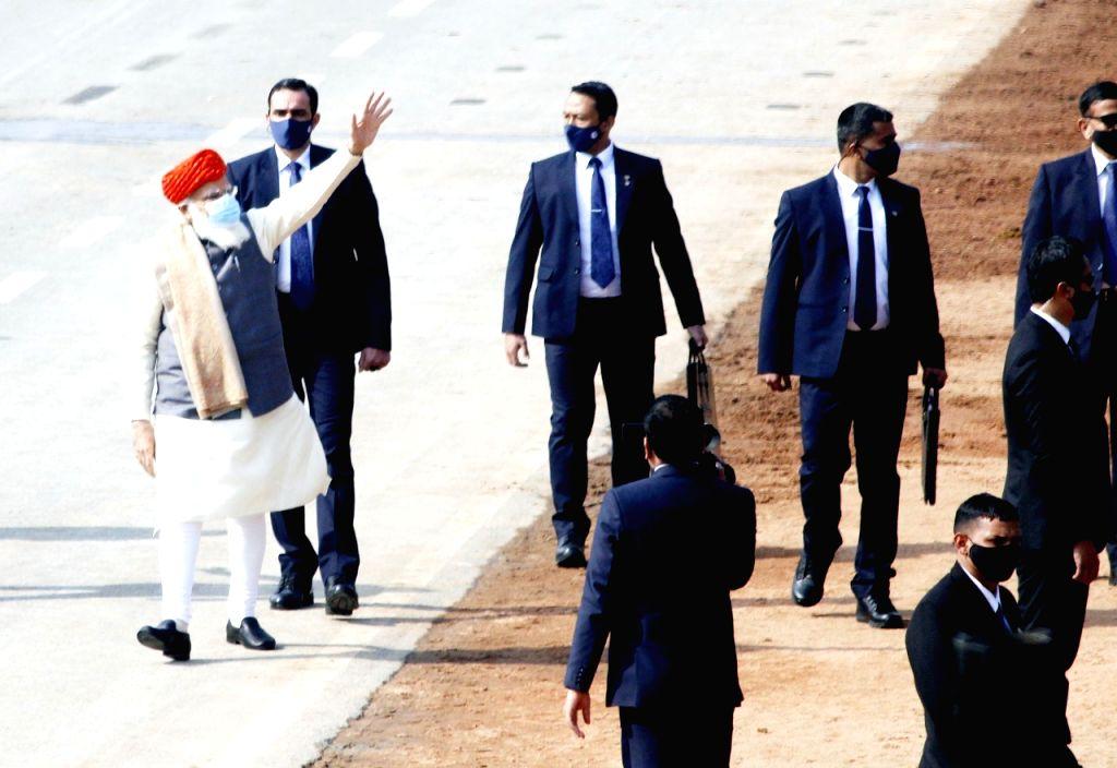 Prime Minister Narendra Modi during 72nd Republic Day celebrations in New Delhi on Jan 26, 2021. - Narendra Modi