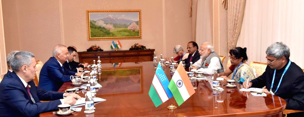 Prime Minister Narendra Modi during a bilateral meeting with the Uzbek President Islam Karimov, in Tashkent, Uzbekistan on June 23, 2016. - Narendra Modi
