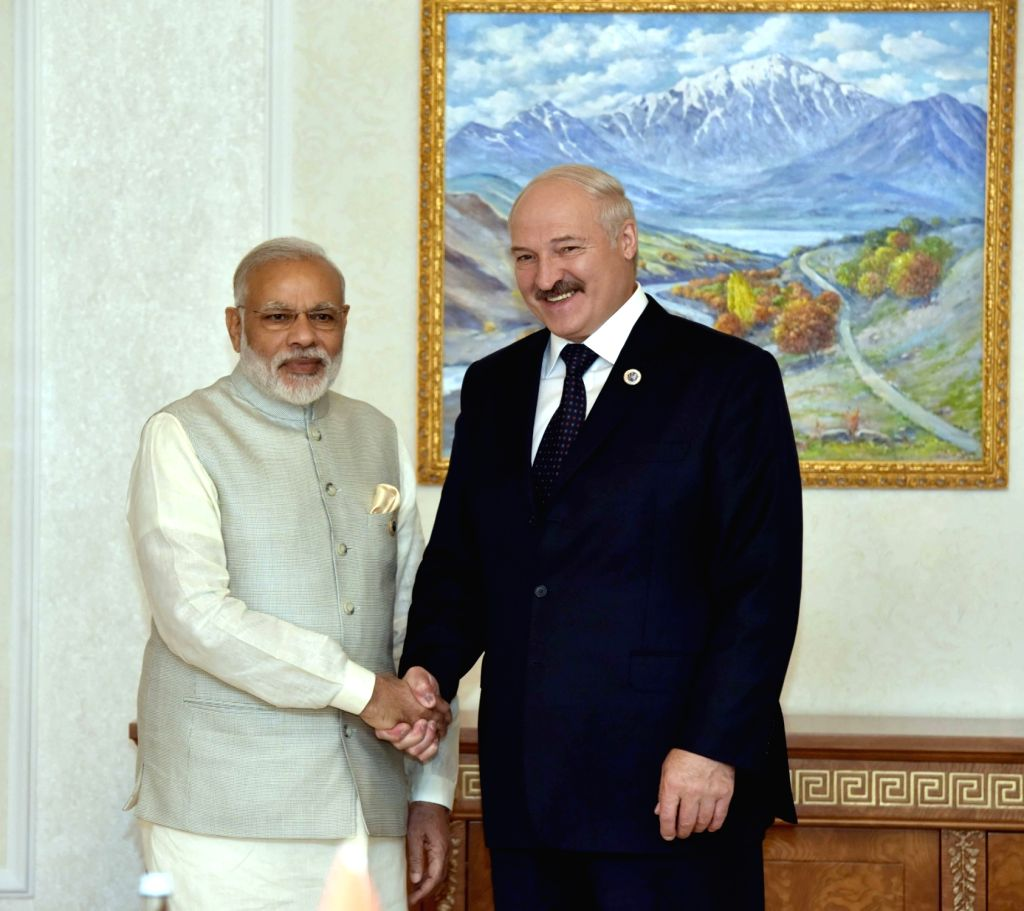 Prime Minister Narendra Modi during a bilateral meeting with the President of Belarus Alexander Lukashenko, in Tashkent, Uzbekistan on June 24, 2016. - Narendra Modi
