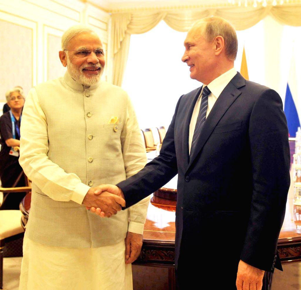 Prime Minister Narendra Modi during a bilateral meeting with the Russian President Vladimir Putin at Shanghai Cooperation Organisation (SCO) summit, in Tashkent, Uzbekistan on June 24, 2016. - Narendra Modi