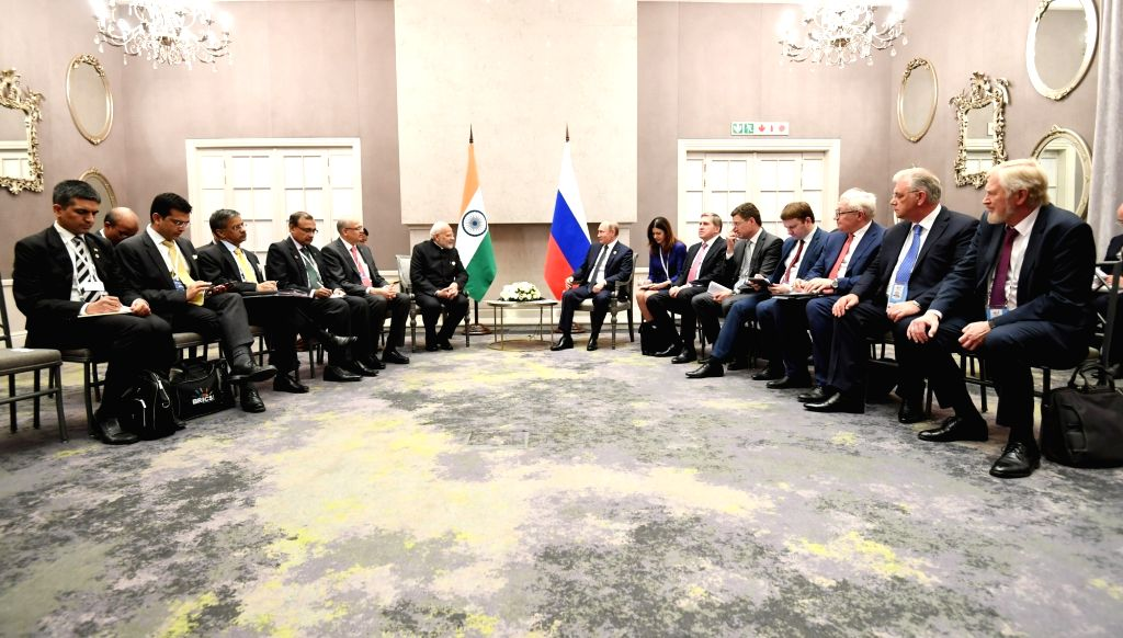 Prime Minister Narendra Modi during a bilateral meeting with Russia President Vladimir Putin, on the sidelines of the BRICS Summit, in Johannesburg, South Africa, on July 27, 2018. - Narendra Modi