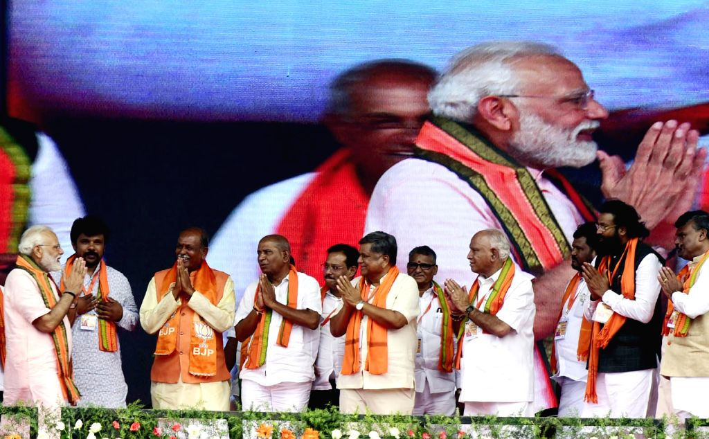 Prime Minister Narendra Modi during a BJP rally in Koppal, Karnataka on April 12, 2019. - Narendra Modi