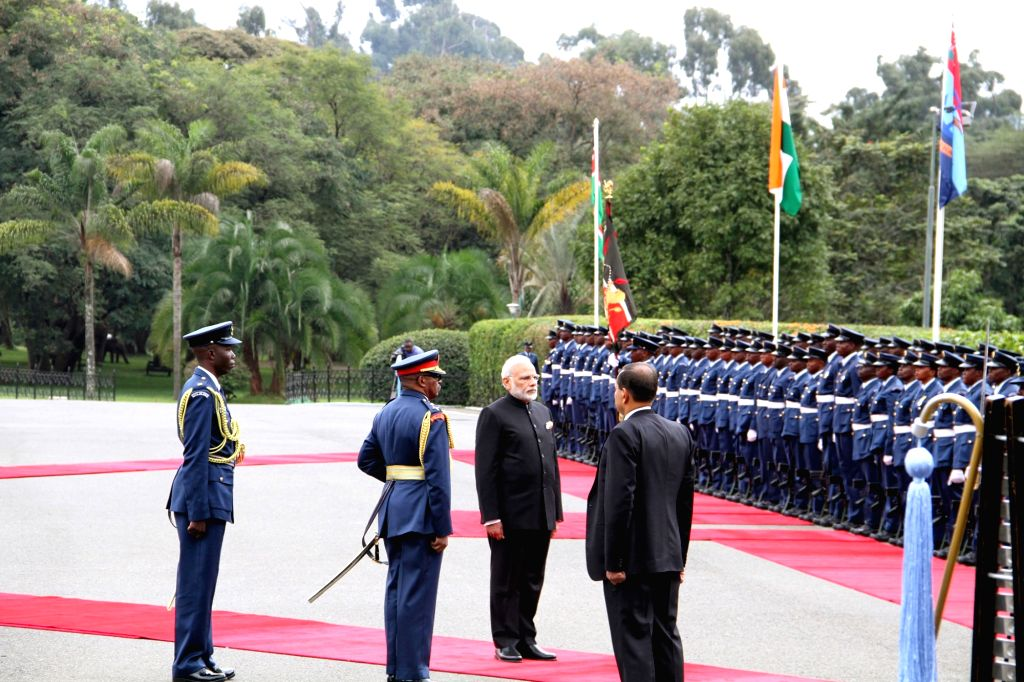 Prime Minister Narendra Modi during a ceremonial reception organised for him at the State House, in Nairobi, Kenya on July 11, 2016. - Narendra Modi