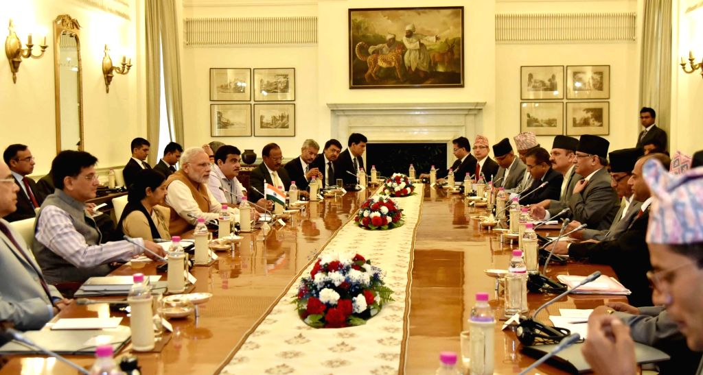 Prime Minister Narendra Modi during a delegation level meeting with Nepalese Prime Minister Pushpa Kamal Dahal at Hyderabad House, in New Delhi on Sept 16, 2016. - Narendra Modi