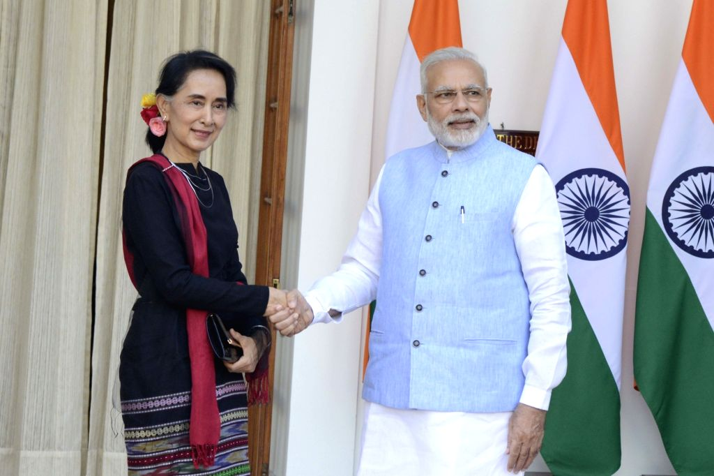 Prime Minister Narendra Modi during a meeting with State Counsellor of Myanmar Daw Aung San Suu Kyi at Hyderabad House in New Delhi, on Oct 19, 2016. - Narendra Modi