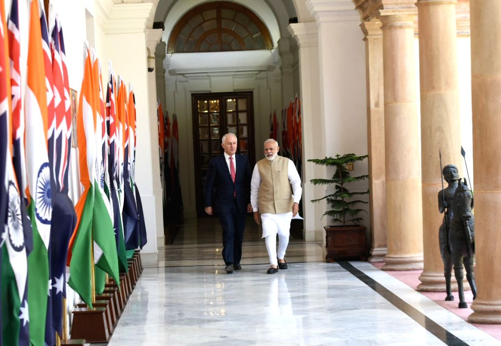 Prime Minister Narendra Modi during a meeting with Australian Prime Minister Malcolm Turnbull, at Hyderabad House, in New Delhi on April 10, 2017. - Narendra Modi
