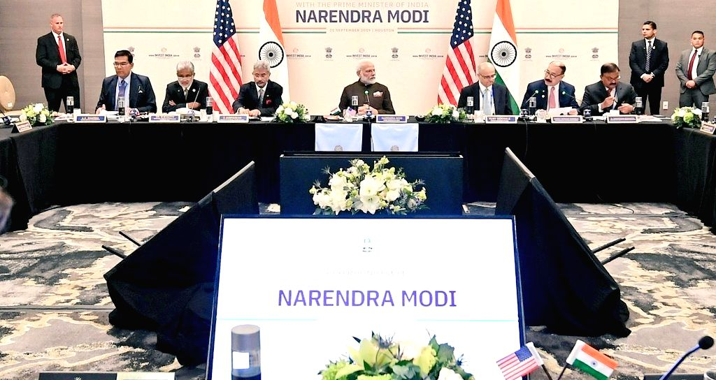 Prime Minister Narendra Modi during a meeting with the CEOs of the companies working in energy sector in Houston, US on Sep 22, 2019. - Narendra Modi