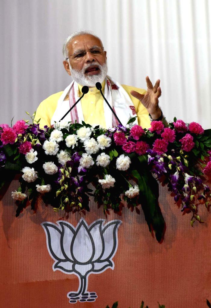 Prime Minister Narendra Modi during a public rally in Guwahati on May 26, 2017. - Narendra Modi