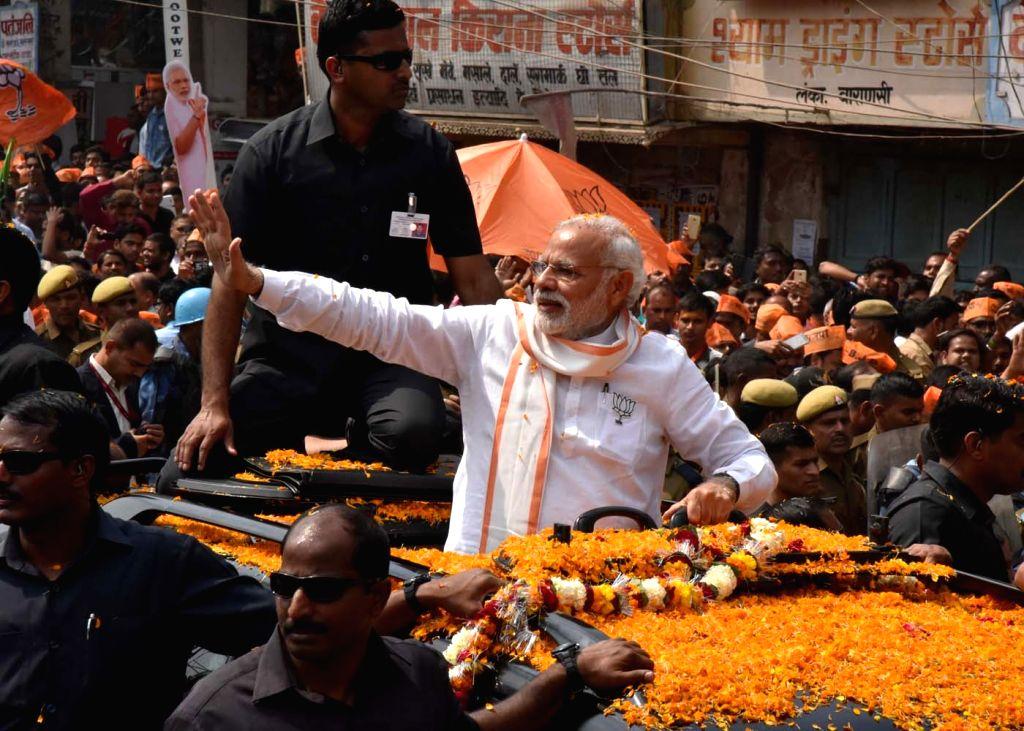 Prime Minister Narendra Modi during a rally in Varanasi on March 4, 2017. - Narendra Modi