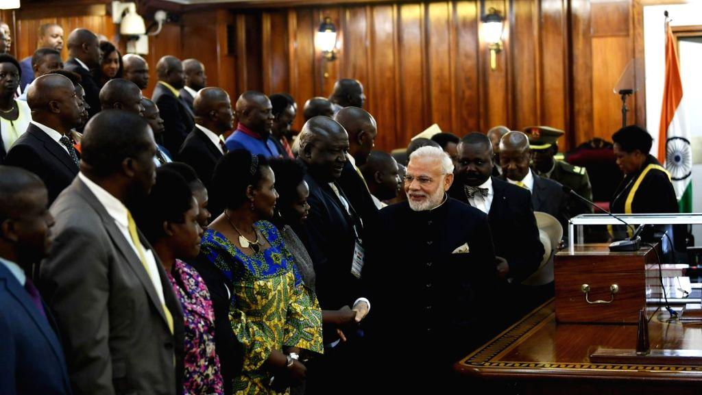Prime Minister Narendra Modi during a reception at the Parliament of Uganda, in Kampala on July 25, 2018. - Narendra Modi