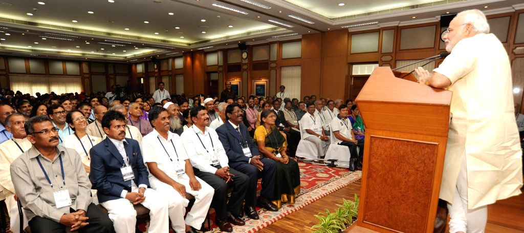 Prime Minister Narendra Modi during an interaction with the teachers nominated for various awards on the eve of teachers day in New Delhi on September 04, 2014. - Narendra Modi