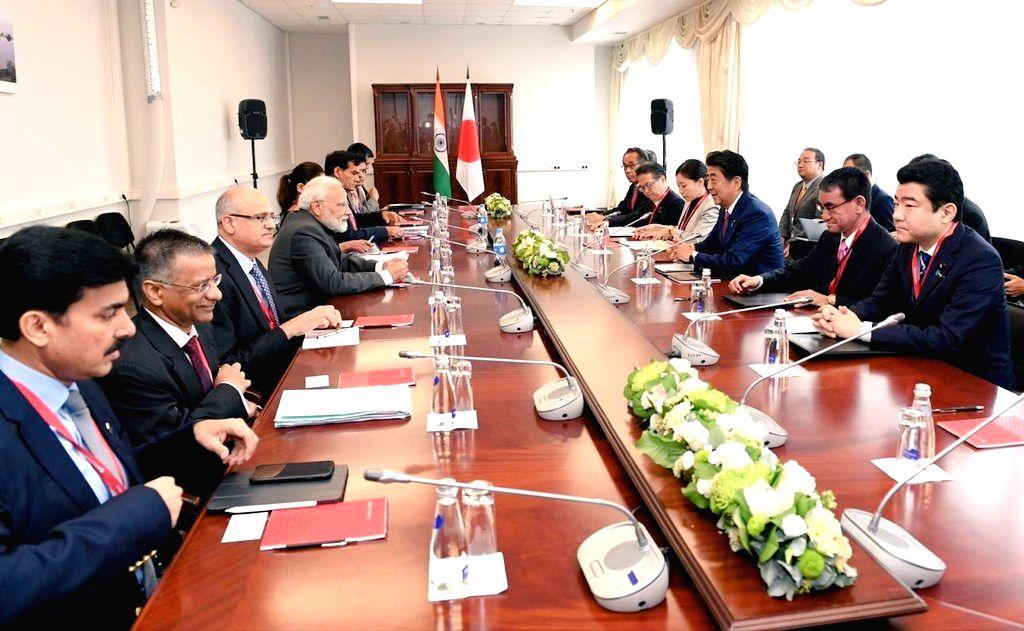Prime Minister Narendra Modi during delegation level talks with Japanese Prime Minister Shinzo Abe on the margins of the 5th Eastern Economic Forum in Vladivostok on Sep 5, 2019. - Narendra Modi