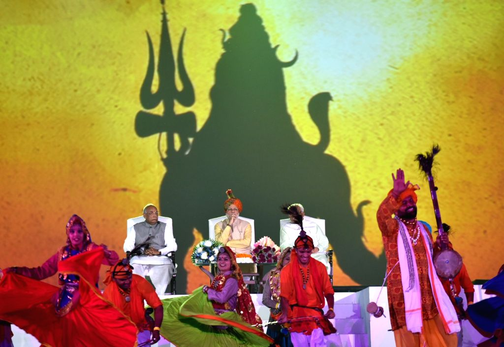 Prime Minister Narendra Modi during Haryana Swarna Jayanti celebrations in Gurugram on Nov 01, 2016. Also Haryana Governor Prof. Kaptan Singh Solanki and Chief Minister Manohar Lal Khattar. - Narendra Modi, Kaptan Singh Solanki and Manohar Lal Khattar