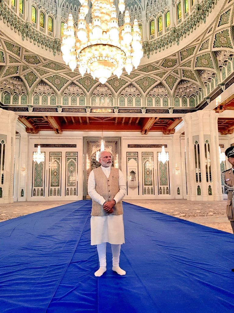Prime Minister Narendra Modi during his visit to the Sultan Qaboos Grand Mosque in Muscat, Oman on Feb 12, 2018. - Narendra Modi