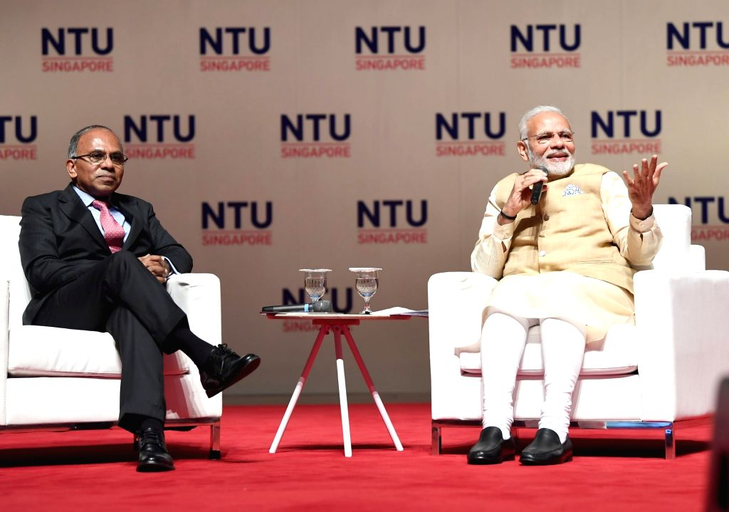 Prime Minister Narendra Modi during his visit to Nanyang Technological University in Singapore on June 1, 2018. - Narendra Modi