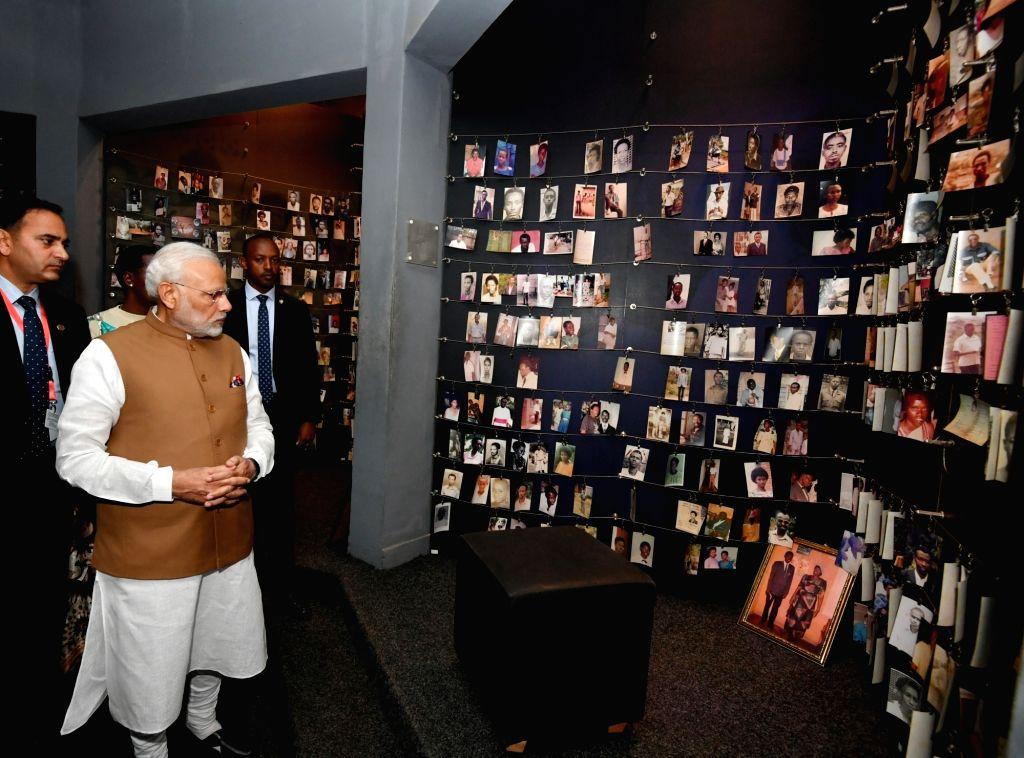 Prime Minister Narendra Modi during his visit to the Kigali Genocide Memorial Centre in Rwanda's Kigali on July 24, 2018. - Narendra Modi