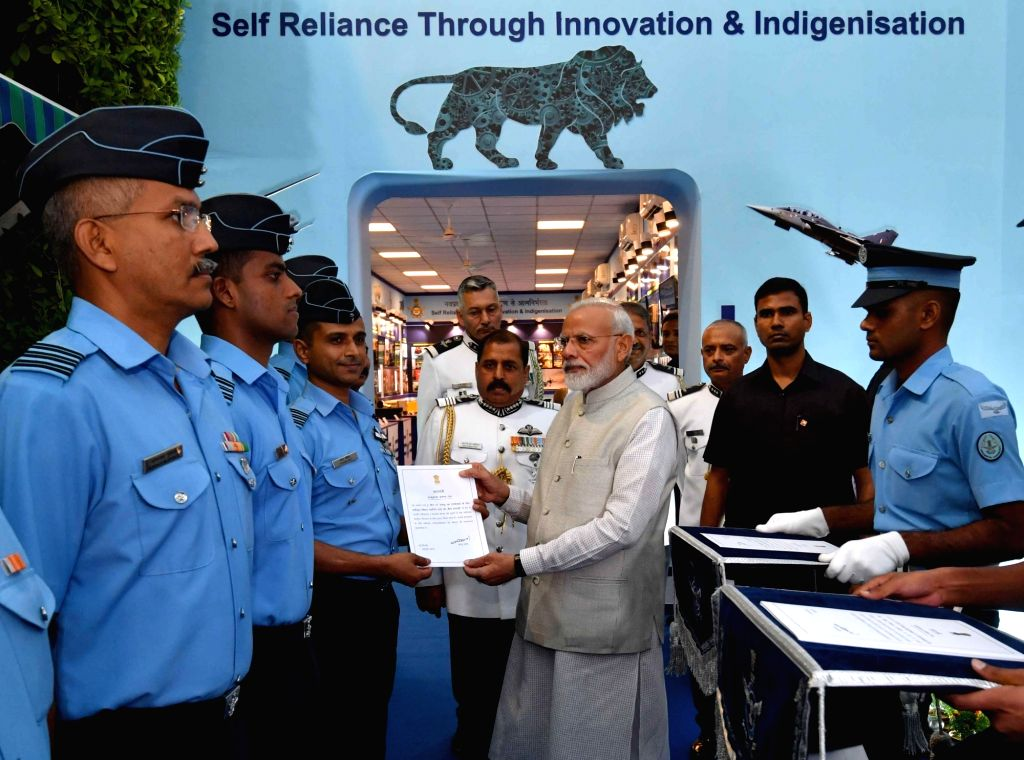Prime Minister Narendra Modi during his visit to the 'IAF Innovation Display' exhibition, in New Delhi on Oct 9, 2019. Also seen Chief of the Air Staff, Air Chief Marshal Rakesh Kumar ... - Narendra Modi