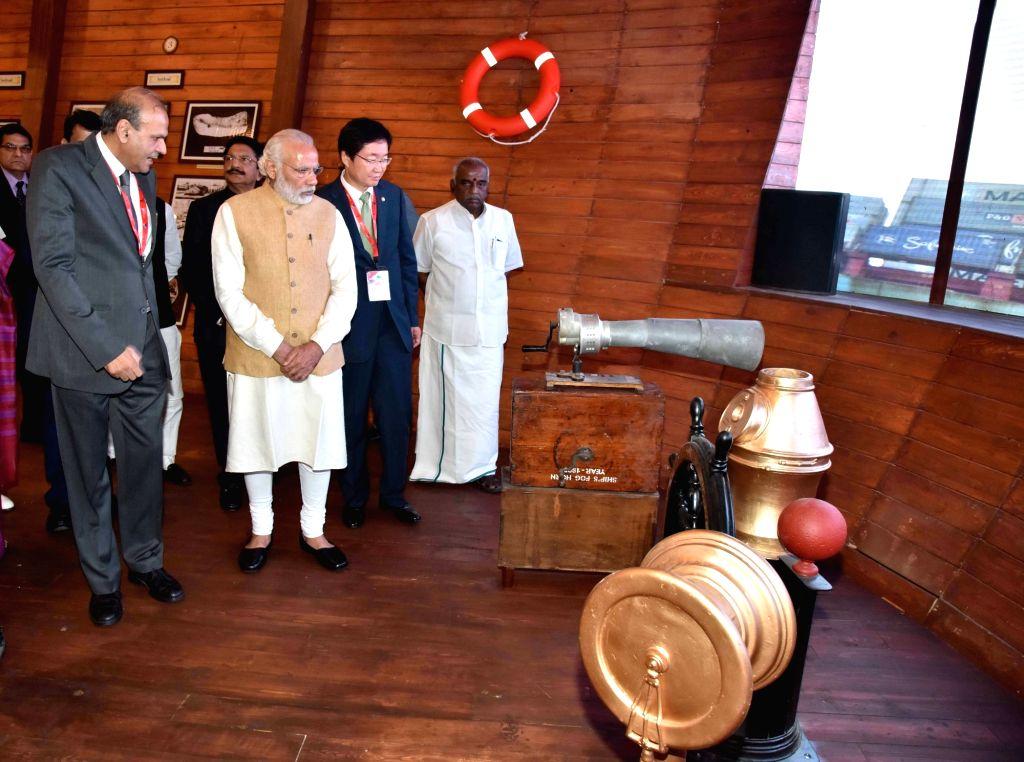 Prime Minister Narendra Modi during Maritime Exhibition in Mumbai, on April 14, 2016. - Narendra Modi