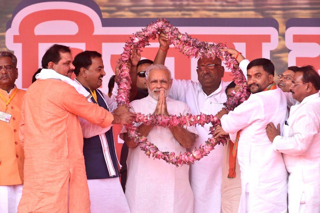 Prime Minister Narendra Modi during Parivartan Maharally in Mahoba, Uttar Pradesh on Oct 24, 2016. - Narendra Modi
