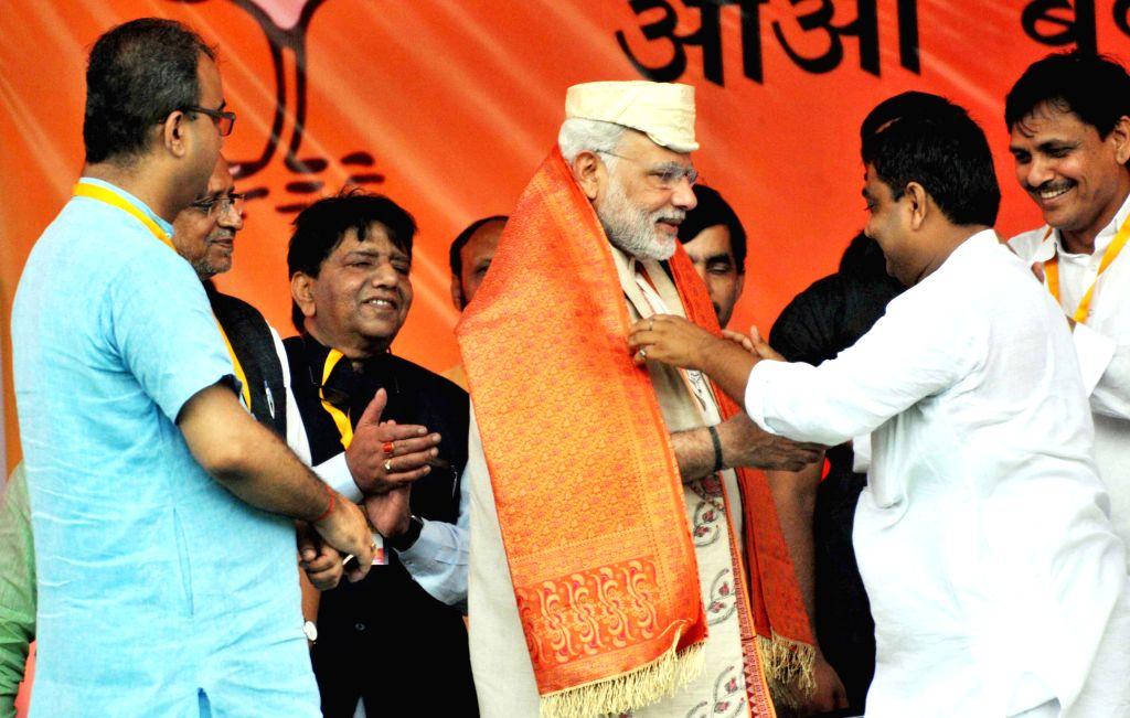 Prime Minister Narendra Modi during the `Parivartan rally` in Saharsa, Bihar, on Aug 18, 2015. - Narendra Modi