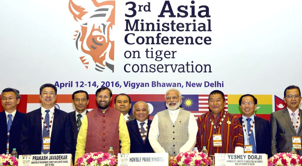 Prime Minister Narendra Modi during the inauguration of the 3rd Asia Ministerial Conference on Tiger Conservation, in New Delhi on April 12, 2016. Also seen the Minister of State for ... - Narendra Modi