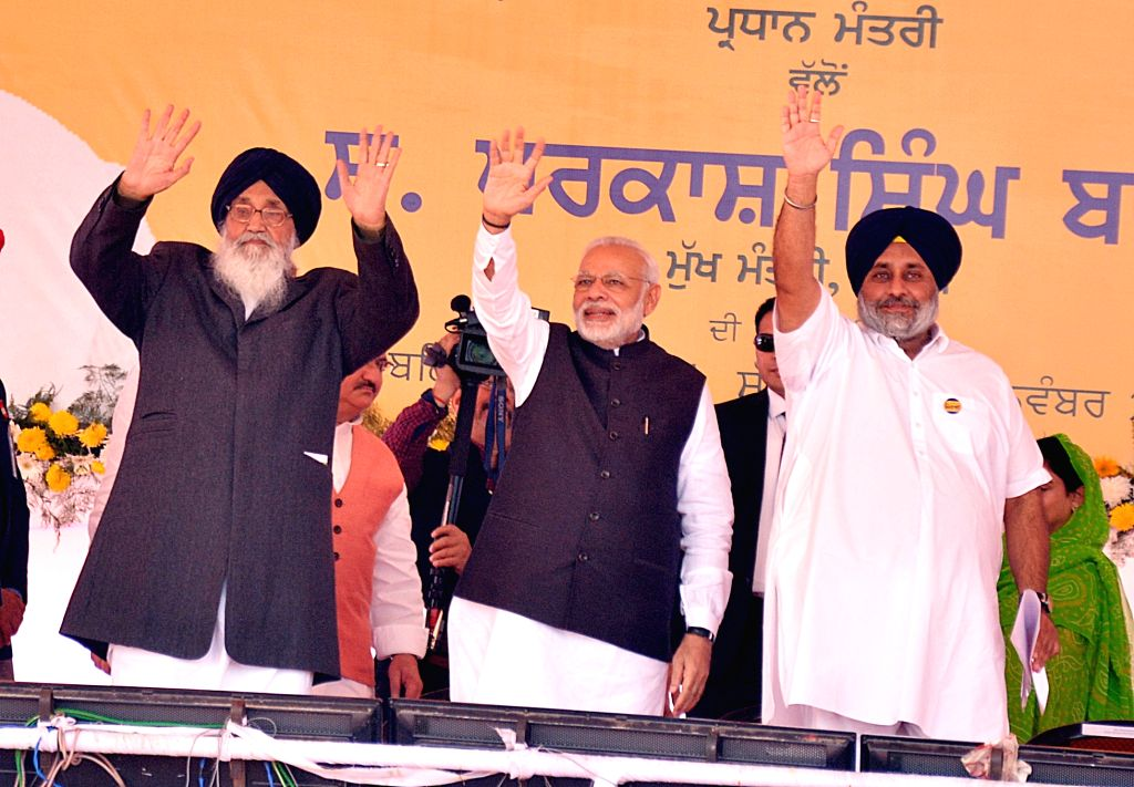Prime Minister Narendra Modi during the Foundation Stone laying ceremony of All India Institute of Medical Sciences (AIIMS) in Bathinda on Nov 25, 2016. Also seen Punjab Chief Minister ... - Narendra Modi, Parkash Singh Badal and Sukhbir Singh Badal