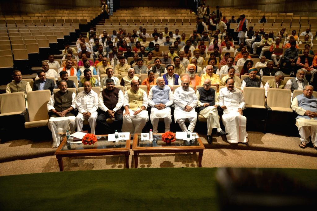 Prime Minister Narendra Modi during the BJP Parliamentary party meeting at Parliament house library, in New Delhi on March 16, 2017. Also seen BJP chief Amit Shah, Union Ministers Rajnath ... - Narendra Modi, Ministers Rajnath Singh, M Venkaiah Naidu, Radha Mohan Singh, Ravi Shankar Prasad, B and Amit Shah