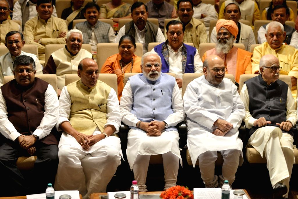 Prime Minister Narendra Modi during the BJP Parliamentary party meeting at Parliament house library, in New Delhi on March 16, 2017. Also seen BJP chief Amit Shah, Union Ministers Rajnath ... - Narendra Modi, Ministers Rajnath Singh, Ravi Shankar Prasad, B and Amit Shah