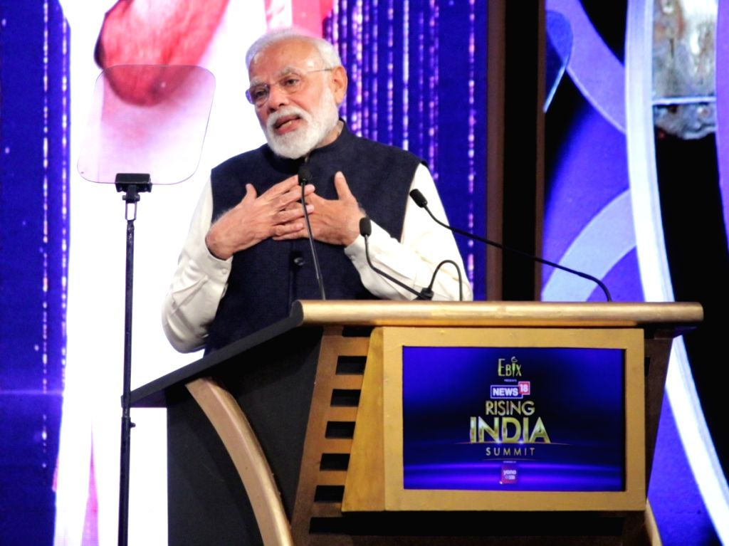 Prime Minister Narendra Modi during the News18 Rising India Summit 2019 in New Delhi on Feb 25, 2019. - Narendra Modi