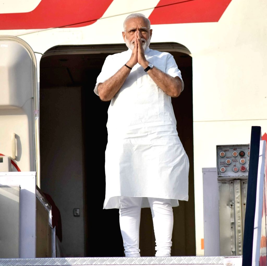 Prime Minister Narendra Modi emplanes for his visit to Portugal, USA and Netherlands, on June 24, 2017. - Narendra Modi