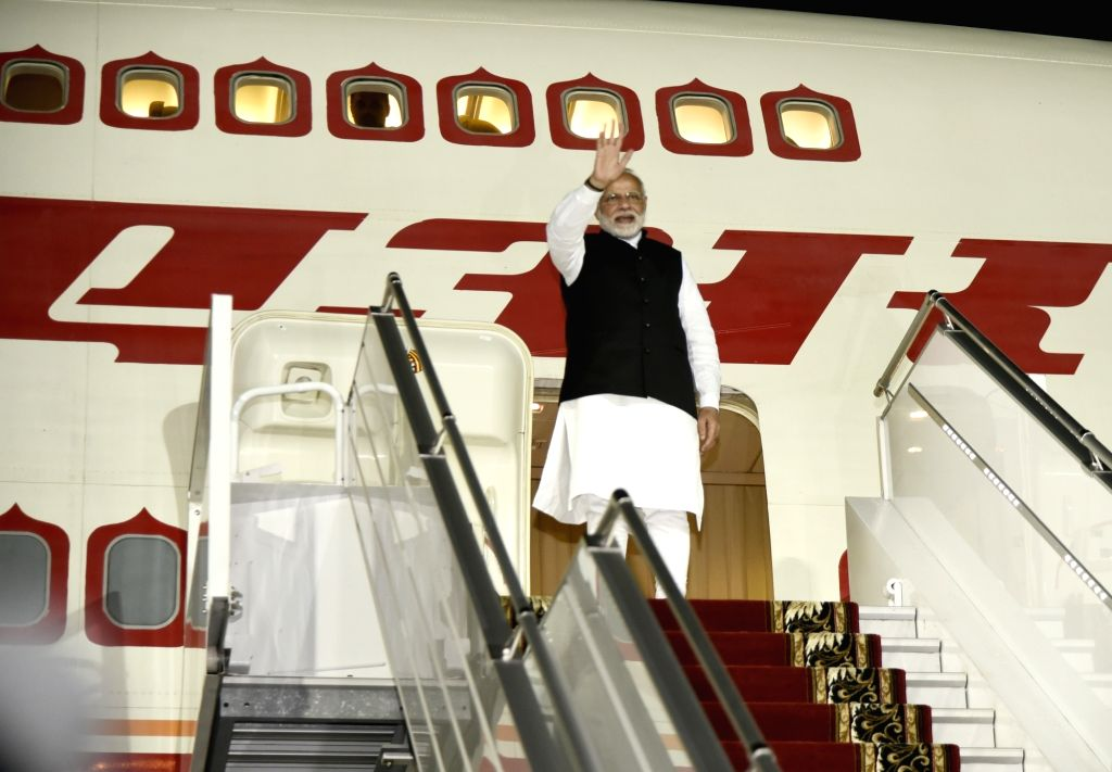 Prime Minister Narendra Modi emplanes for India from Sochi after successful completion of his a day long visit to Russia, on May 21, 2018. - Narendra Modi