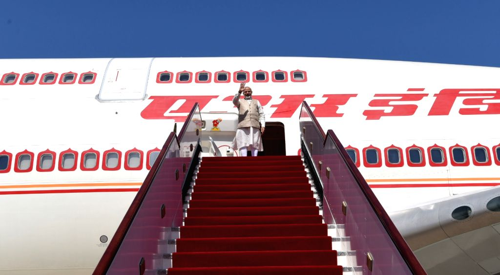 Prime Minister Narendra Modi emplanes for New Delhi from Muscat after concluding his 4-day visit to Jordan, Palestine, UAE and Oman, on Feb 12, 2018. - Narendra Modi