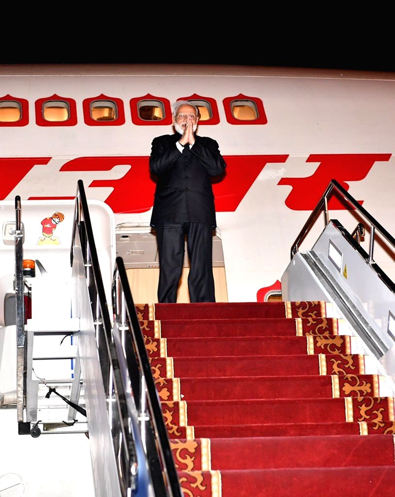 Prime Minister Narendra Modi emplanes for New Delhi from Bishkek, Kyrgyzstan on June 14, 2019. - Narendra Modi