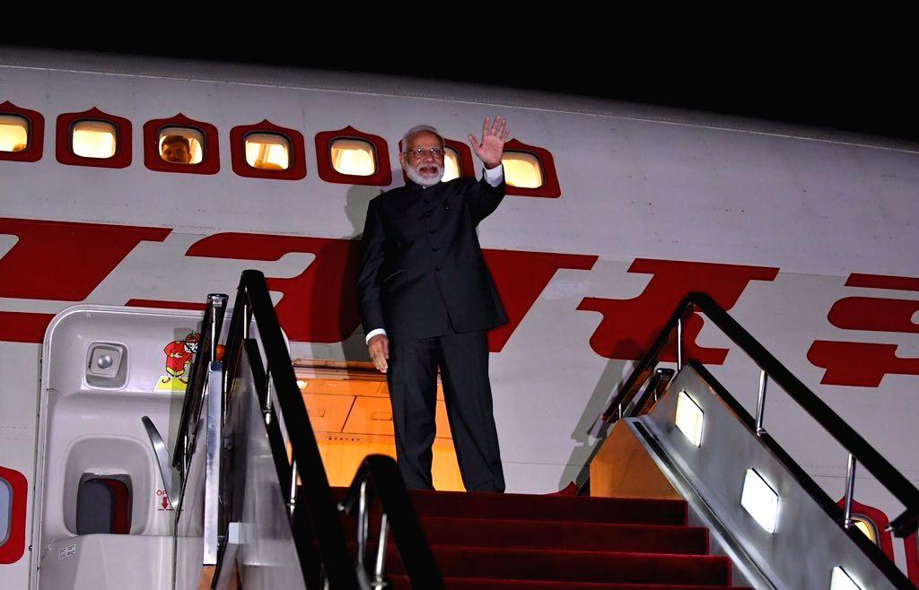 Prime Minister Narendra Modi emplanes for New Delhi from Vladivostok, Russia on Sep 5, 2019. - Narendra Modi