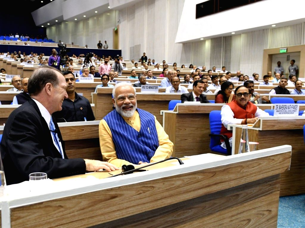 Prime Minister Narendra Modi in a conversation with World Bank President David Malpass during the 5th edition of NITI Lecture series, in New Delhi on Oct 26, 2019. - Narendra Modi
