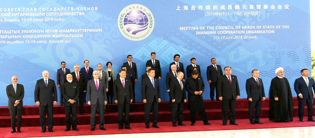 Prime Minister Narendra Modi in a group photograph with other SCO leaders, at the Shanghai Cooperation Organization (SCO) Summit in Bishkek, Kyrgyz Republic on June 14, 2019. - Narendra Modi