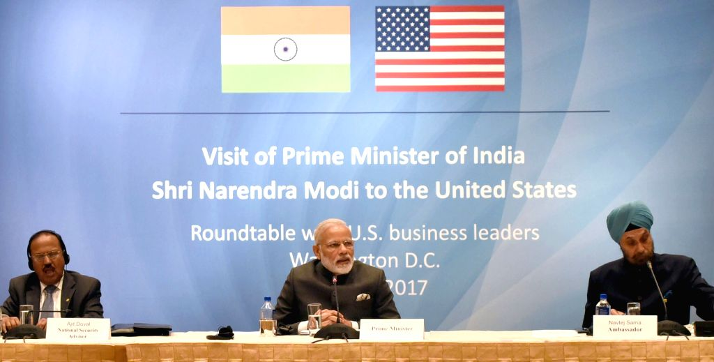 Prime Minister Narendra Modi in a round-table meeting with the US Business ers, at Washington DC, USA on June 25, 2017. - Narendra Modi