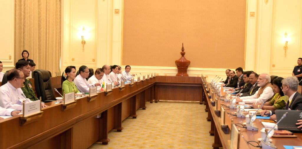 Prime Minister Narendra Modi in delegation level talks with the Myanmar's State Counsellor Aung San Suu Kyi, at Presidential Palace, in Naypyidaw, Myanmar on Sept 6, 2017. - Narendra Modi