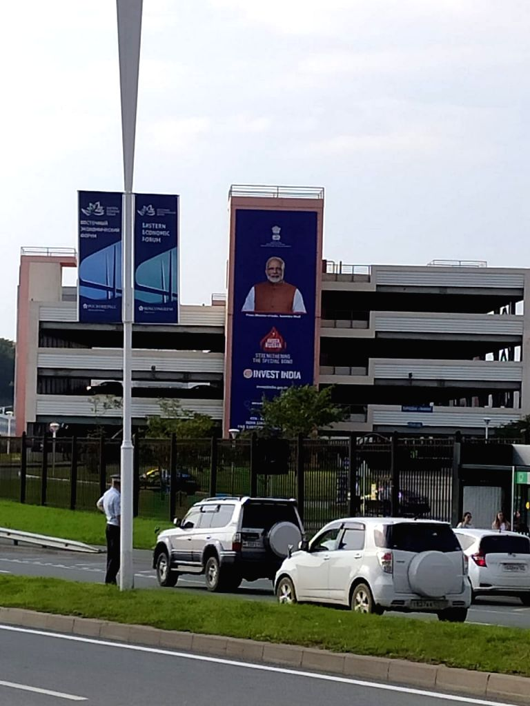 Prime Minister Narendra Modi in hoardings installed at the venue of the 2019 Eastern Economic Forum to be held in Vladivostok, Russia from Sep 4-6. - Narendra Modi