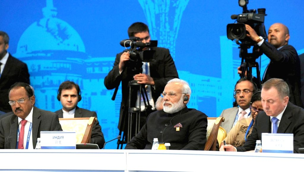 Prime Minister Narendra Modi in the extended format meeting at the Shanghai Cooperation Organisation (SCO) Summit in Astana, Kazakhstan on June 9, 2017. Also seen National Security Advisor ... - Narendra Modi