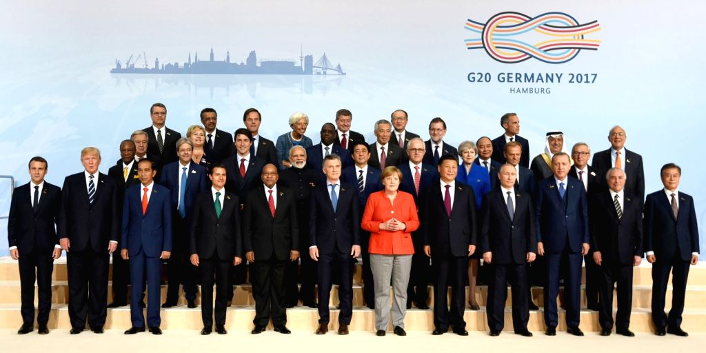Prime Minister Narendra Modi in the family photograph with other ers' of G-20 Nations in Hamburg, Germany on July 7, 2017. - Narendra Modi