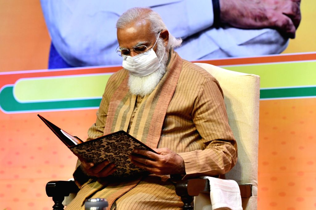 Prime Minister Narendra Modi inaugurates a meeting of the BJP national office bearers at the NDMC convention centre in New Delhi on Sunday 21st February 2021. - Narendra Modi