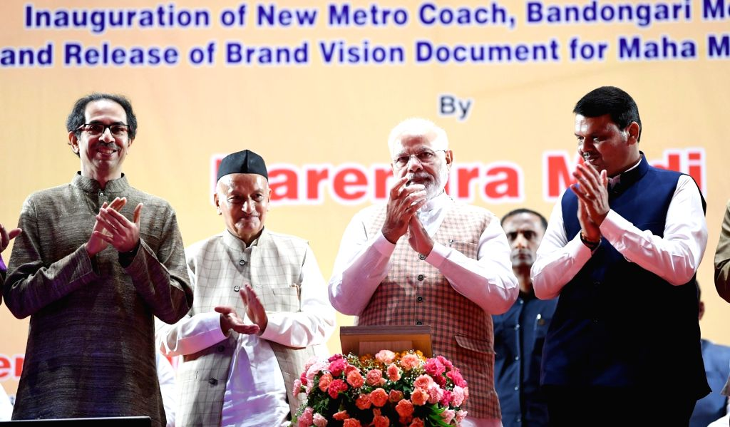 Prime Minister Narendra Modi inaugurates and lays foundation stone of the various Metro Projects in Mumbai on Sep 7, 2019. Also seen Maharashtra Governor Bhagat Singh Koshyari, Chief Minister ... - Narendra Modi and Bhagat Singh Koshyari