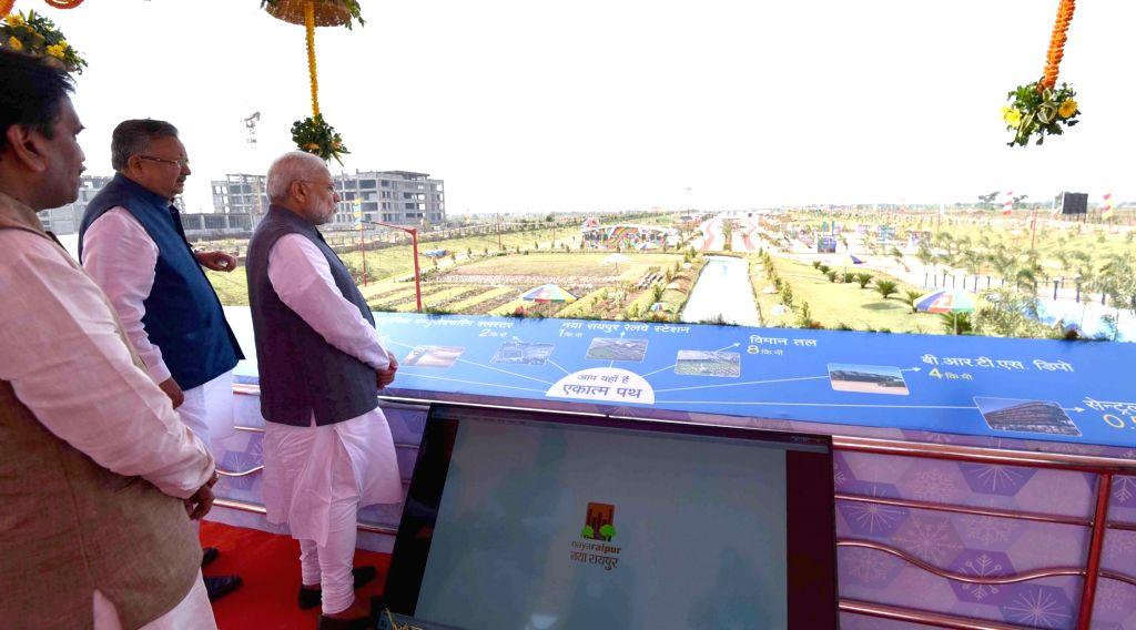 """Prime Minister Narendra Modi inaugurates the Central Boulevard """"Ekatma Path"""" in Naya Raipur on Nov 1, 2016. - Narendra Modi"""