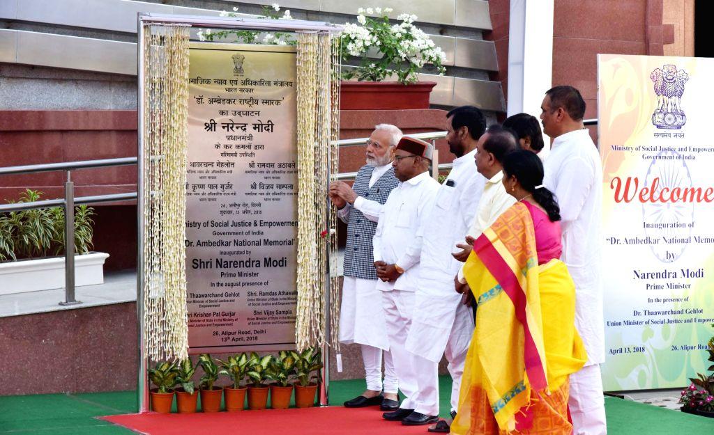 Prime Minister Narendra Modi inaugurates the Dr. Ambedkar National Memorial at 26 Alipur Road in Delhi on April 13, 2018. - Narendra Modi