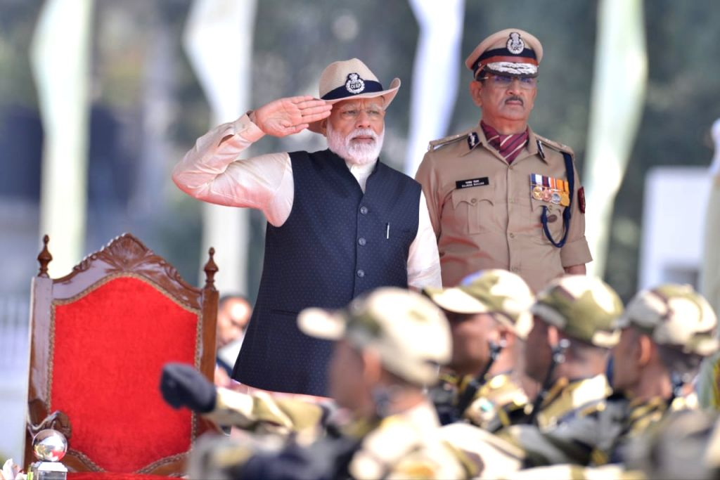 Prime Minister Narendra Modi inspects the Guard of Honour during the Central Industrial Security Force (CISF) Day parade at CISF 5th Reserve Battalion, in Ghaziabad, Uttar Pradesh, on ... - Narendra Modi