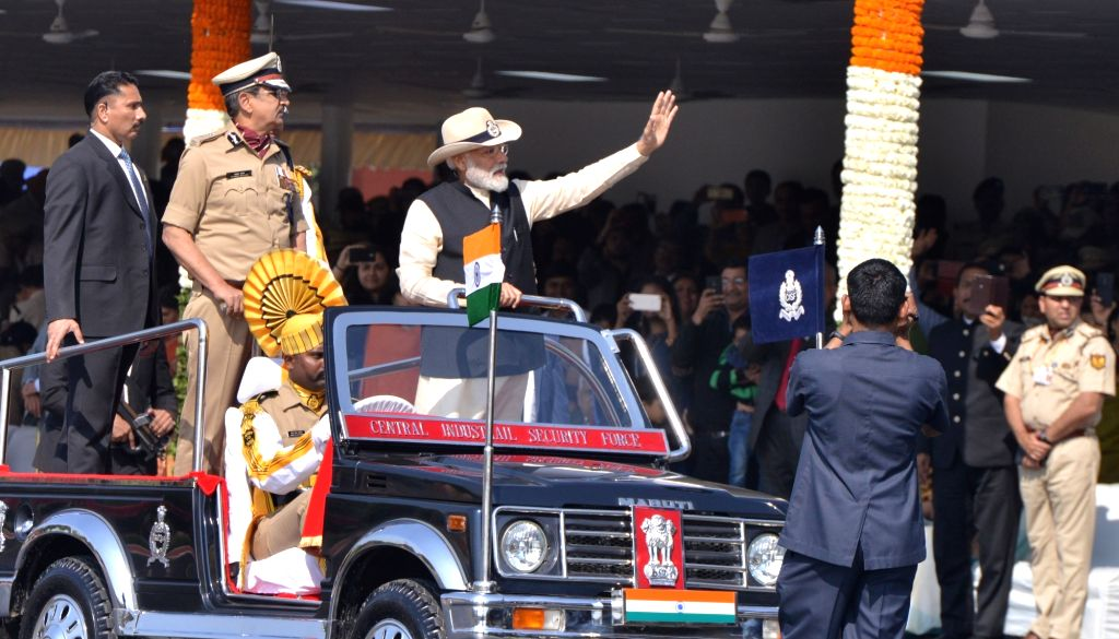 Prime Minister Narendra Modi inspects the Guard of Honour during the 50th Raising Day ceremony of Central Industrial Security Forces (CISF) in Ghaziabad, on March 10, 2019. - Narendra Modi
