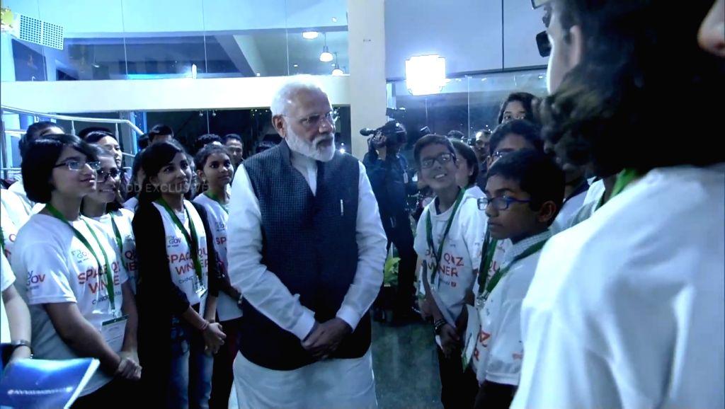 Prime Minister Narendra Modi interacts with children at ISRO Centre in Bengaluru on Sep 7, 2019. - Narendra Modi