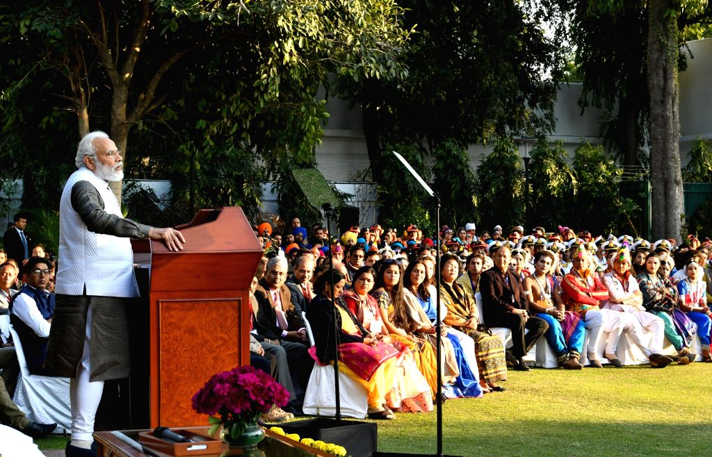 Prime Minister Narendra Modi interacts with Tribal Guests, NCC cadets, NSS Volunteers and Tableaux Artists who would be performing at the 71st Republic Day Parade, in New Delhi on Jan 24, ... - Narendra Modi